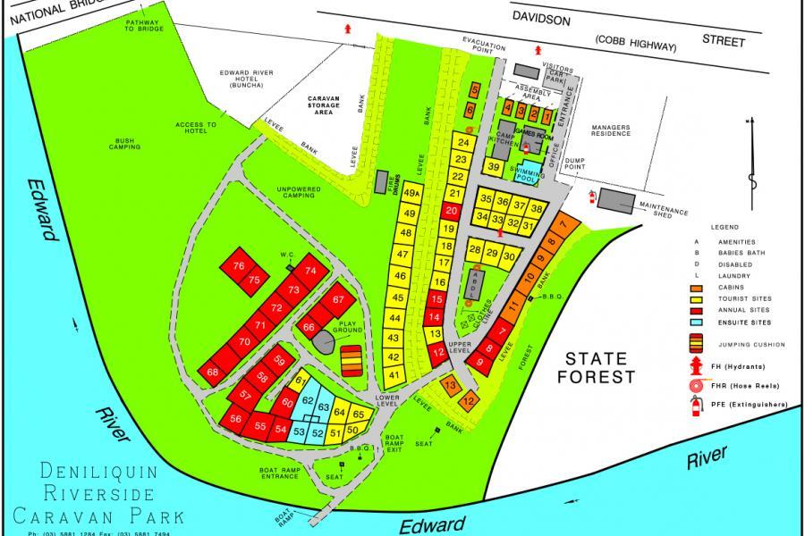 Deniliquin Riverside Caravan Park Map